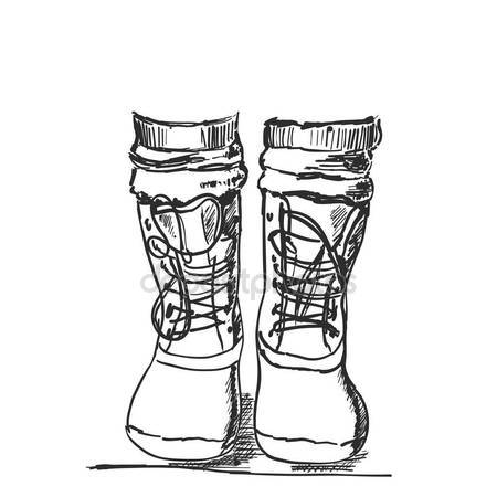 450x450 Hand Drawn Hiking Boots. Winter Shoes Sketch Stock Vector