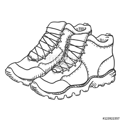 500x500 Vector Set Of Sketch Hiking Boots. Side, Front And Top View Stock