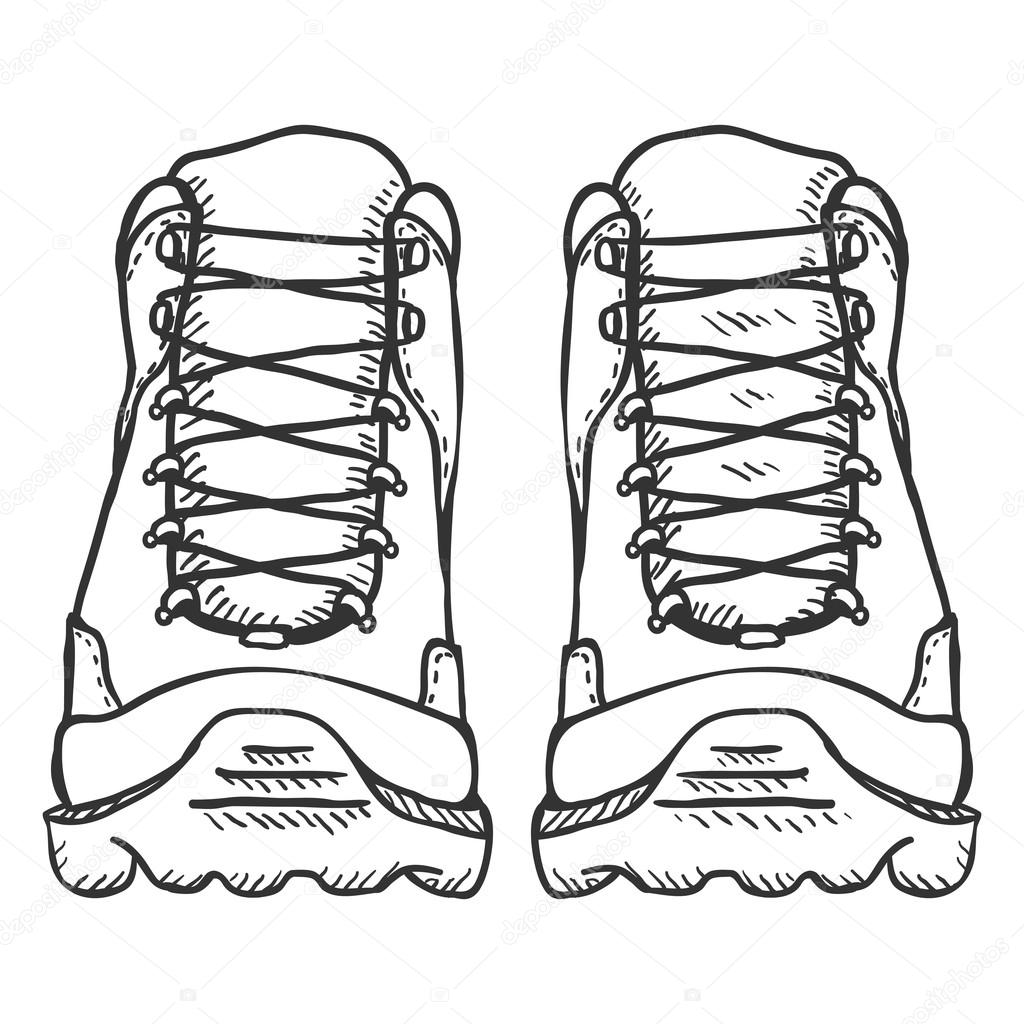 1024x1024 Extreme Hiking Boots. Stock Vector Nikiteev
