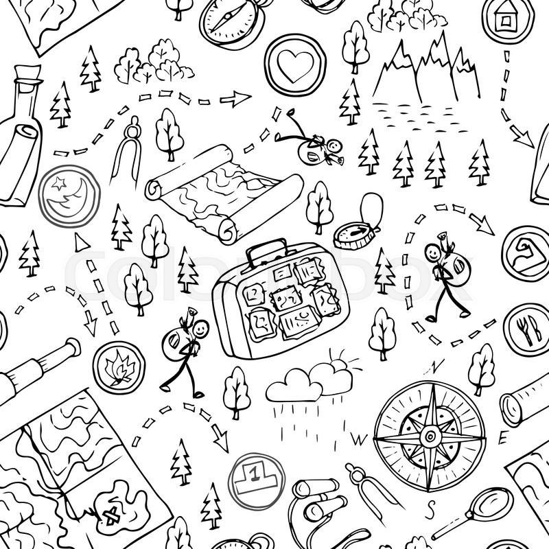 800x800 Hand Drawn Seamless Pattern, Maps, Picnic, Travel, Hiking