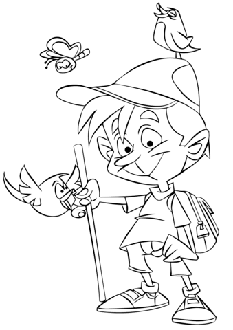 339x480 Hiking Boy Coloring Page Free Printable Coloring Pages