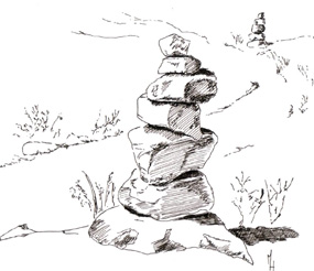 285x246 Artists Image Of A Rock Cairn. You Will Find Many Hiking Trails