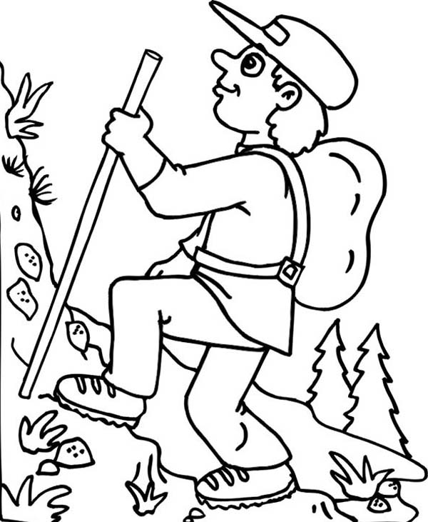 600x731 Hiking On Summer Camp Coloring Page