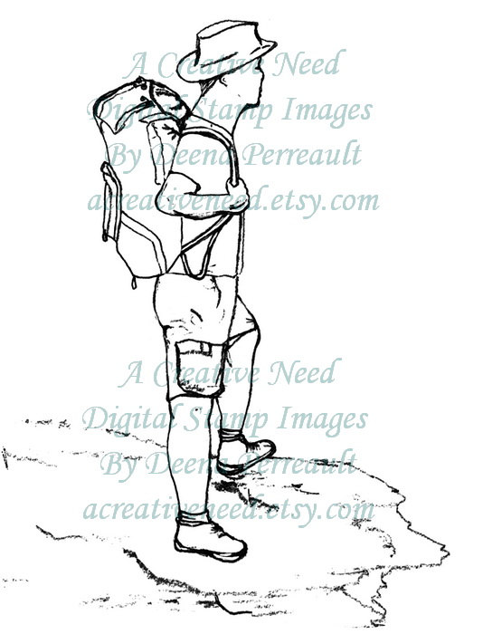 534x700 Iinstant Download. Digital Stamp Image. Hiking Man Image. Use