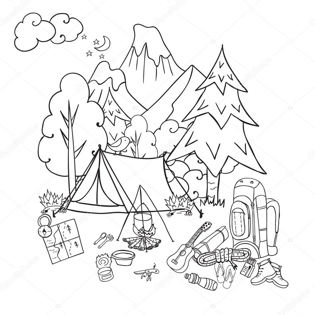 1024x1024 Recreation. Tourism And Camping. Hand Drawn Doodle Camping