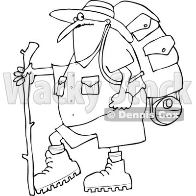 400x400 Of An Outlined Chubby Man In Hiking Gear, Holding A Stick