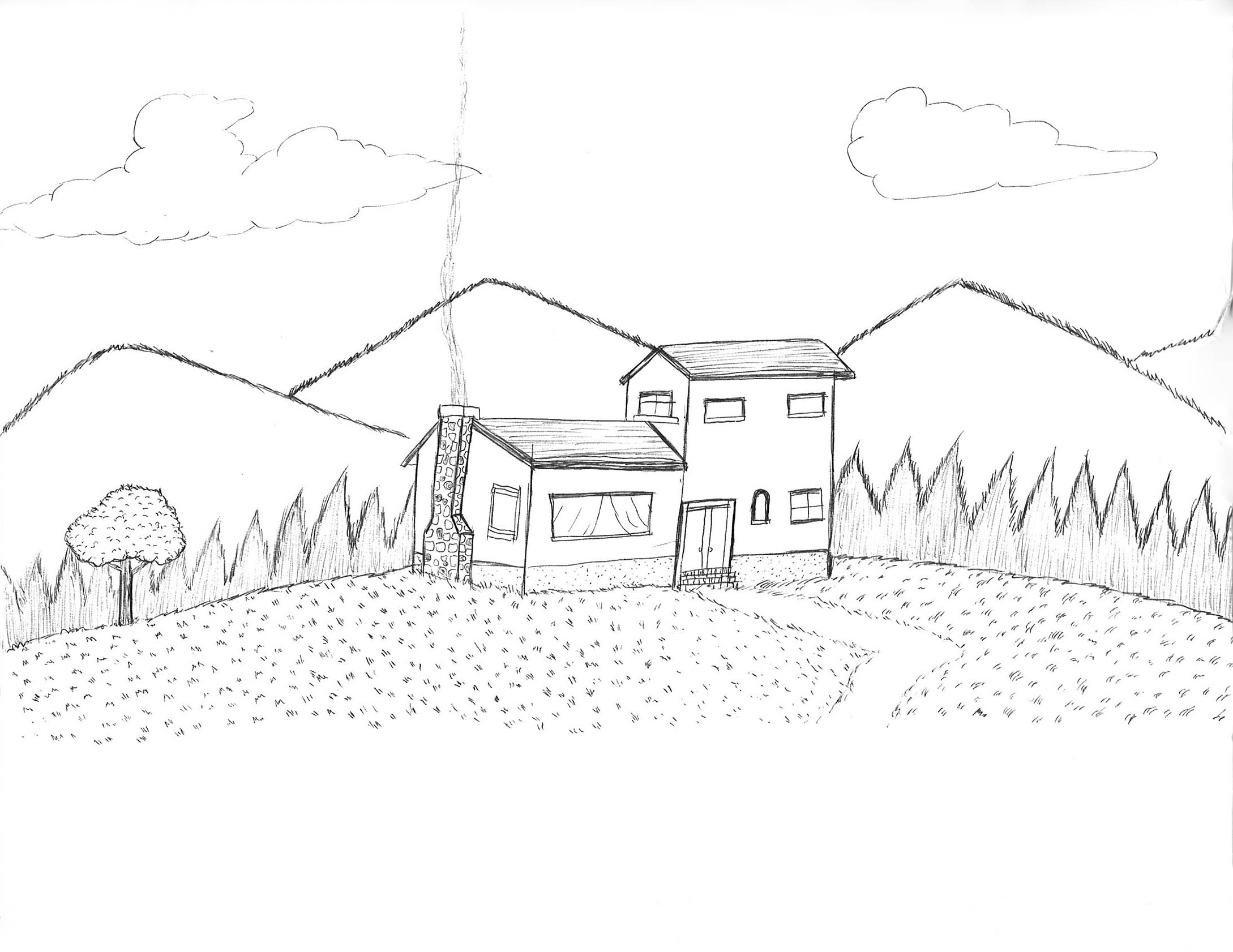 2178x1682 House On A Hill Drawhappy