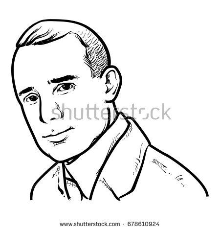 450x470 Napoleon Hill Vector Illustration, Napoleon Hill Drawing Outline
