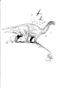 218x300 William Stout Original Dinosaur Drawing Apatosaurus On Hill