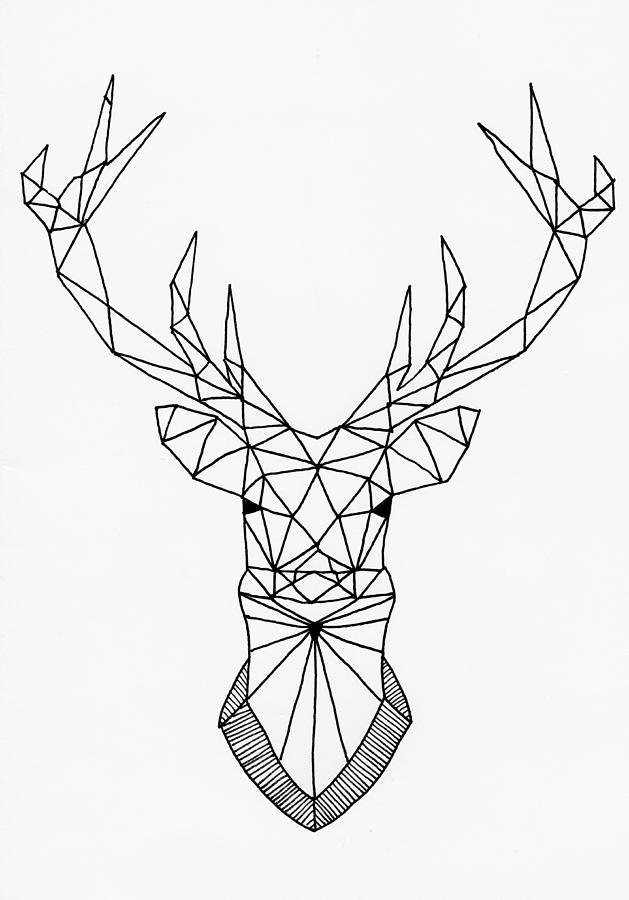 629x900 Geometric Stag Head Drawing By Loren Hill