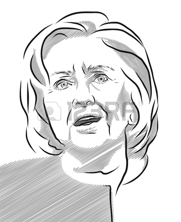 366x450 Hillary Clinton Portrait Outline Illustration In Tones Of Grey