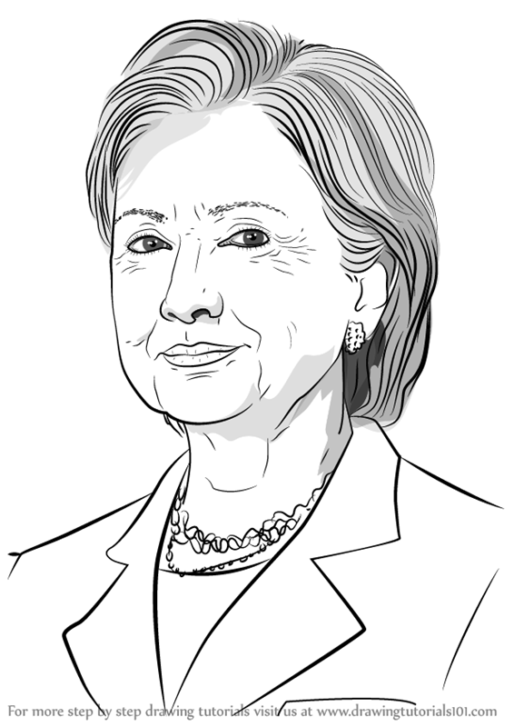 566x800 Learn How To Draw Hilary Clinton (Politicians) Step By Step