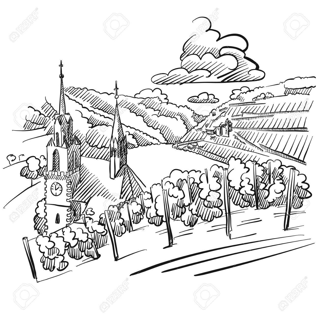 1300x1300 German Vineyard Sketch With Church, River And Hills, Hand Drawn