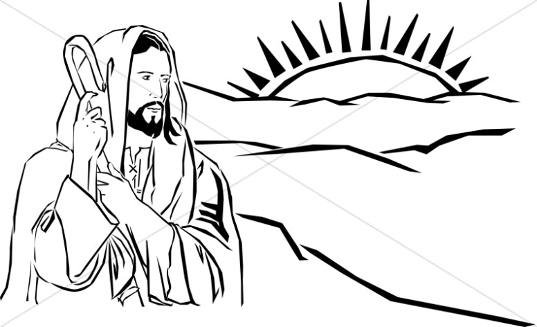 776x472 Shepherd Jesus Watching Sun Rise Over Hills Jesus Clipart