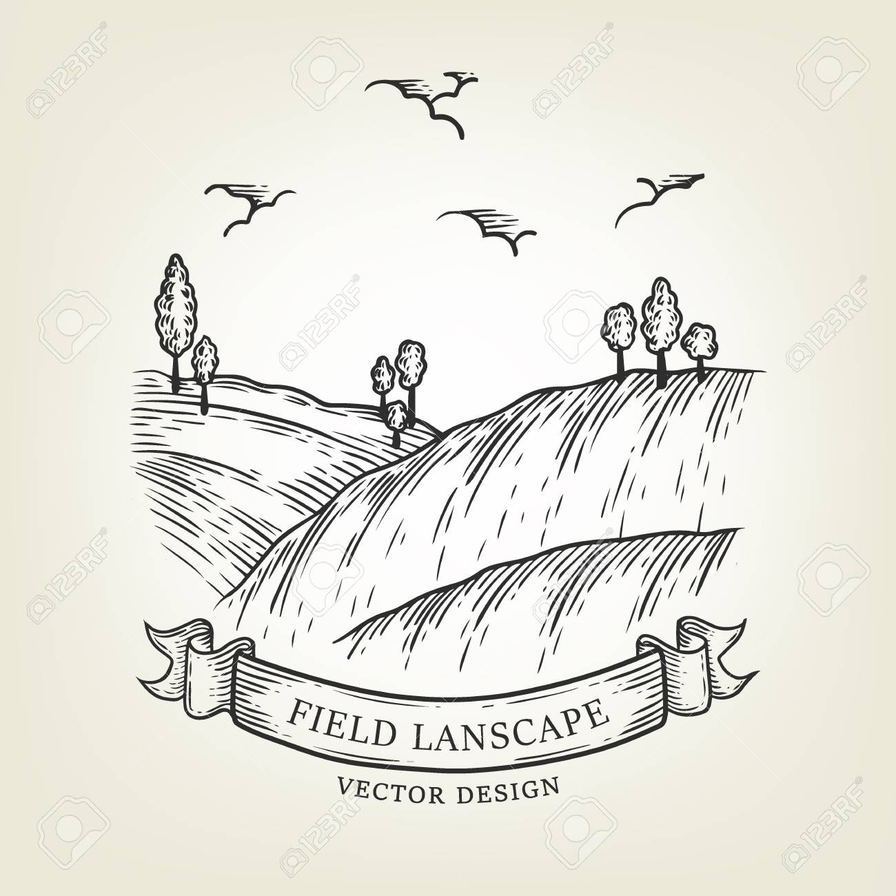 1300x1300 Sketch Of Field Landscape With Hills And Trees. Vector