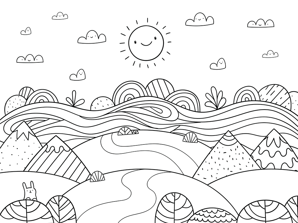 1000x747 The Happy Hills Free Coloring Page Kids, Nature Coloring Pages