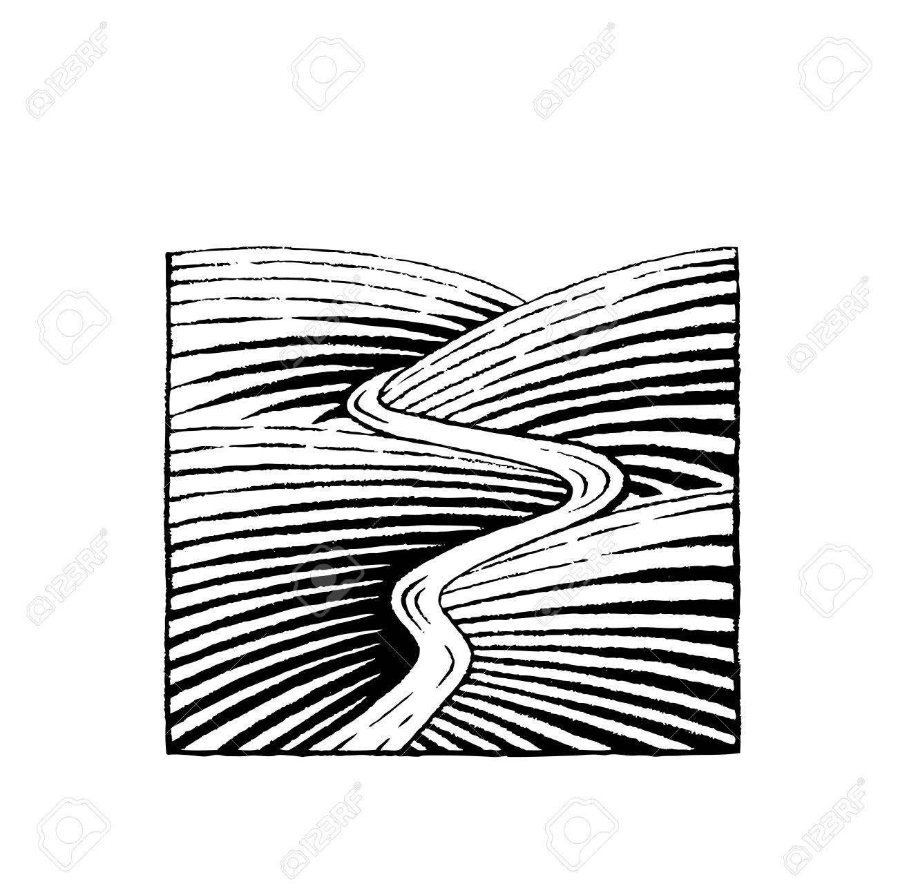 1300x1296 Vector Illustration Of A Scratchboard Style Ink Drawing Of Hills