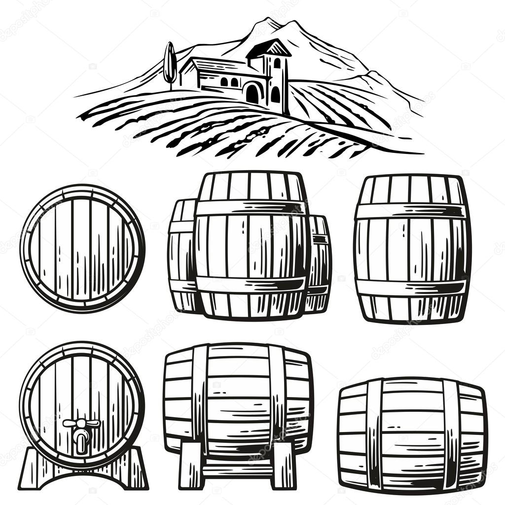 1024x1024 Wooden Barrel Set And Rural Landscape With Villa, Vineyard Fields