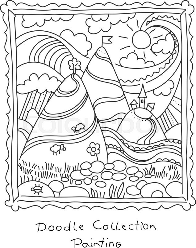 635x800 Doodle Drawing Of Painting In Frame. Landscape With Hills