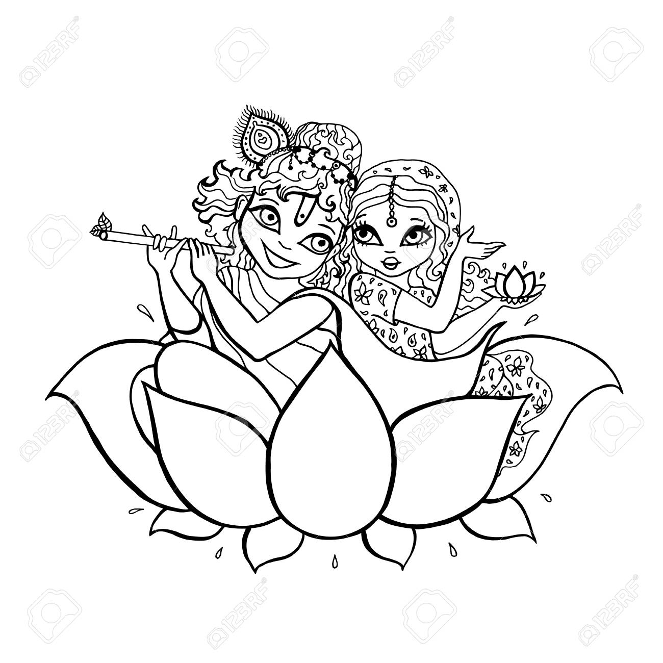 1300x1300 Hindu God. Radha, Krishna Vector Hand Drawn Illustration Royalty