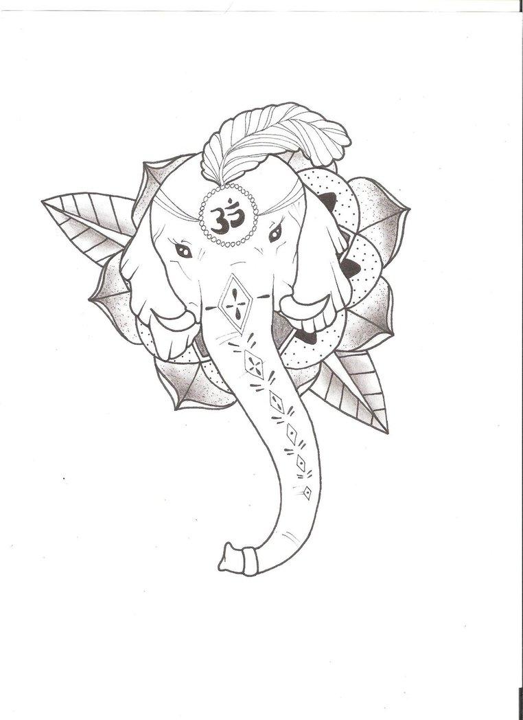 762x1048 Elephant God Tattoo By Roors