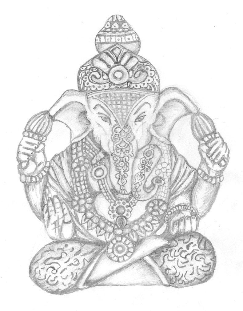 790x1010 Hindu Elephant God Drawing