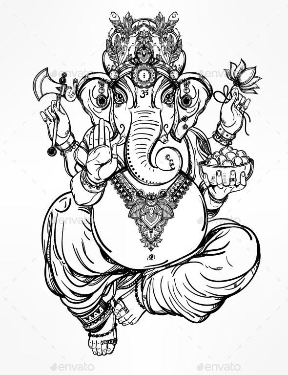 590x767 Hindu Elephant Head God Lord Ganesha Illustration Vector Eps