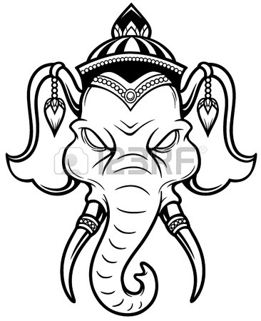 366x450 Illustration Of Elephant Head