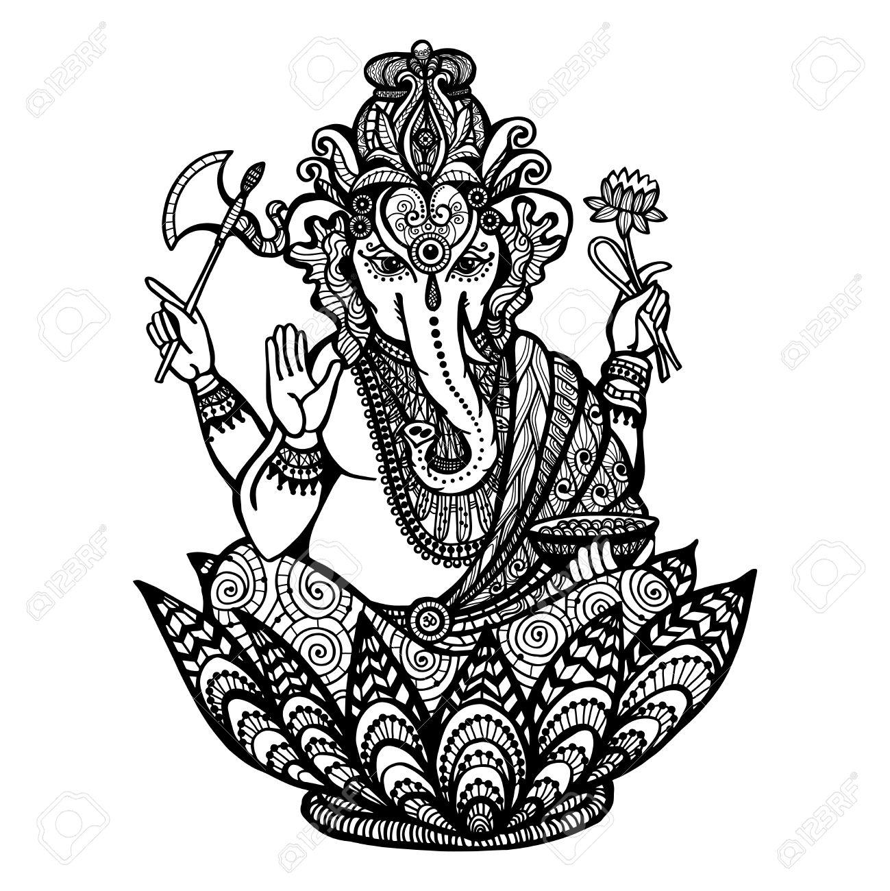 1299x1300 Decorative Ganesha Hindu God Sitting In Lotus Flower Hand Drawn