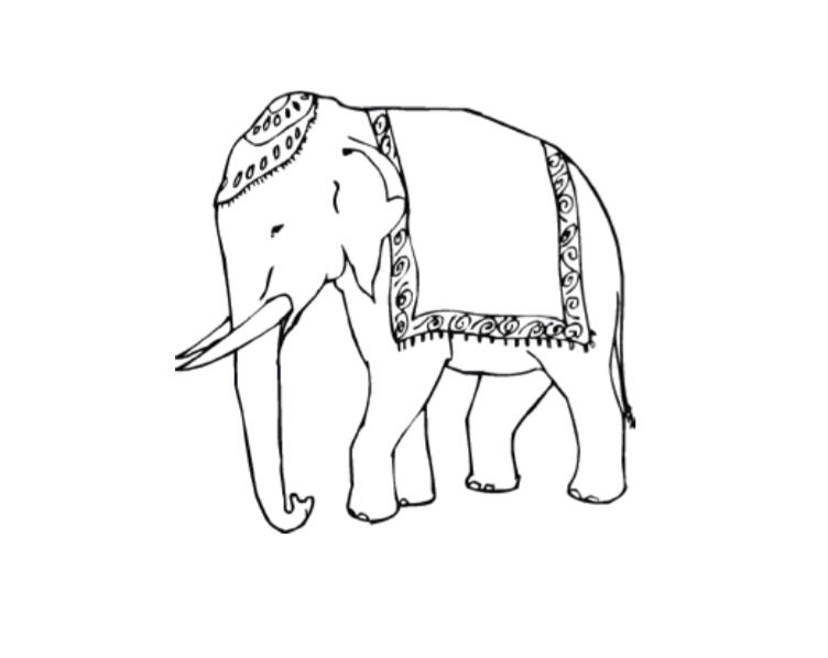 752x598 Drawn Asian Elephant