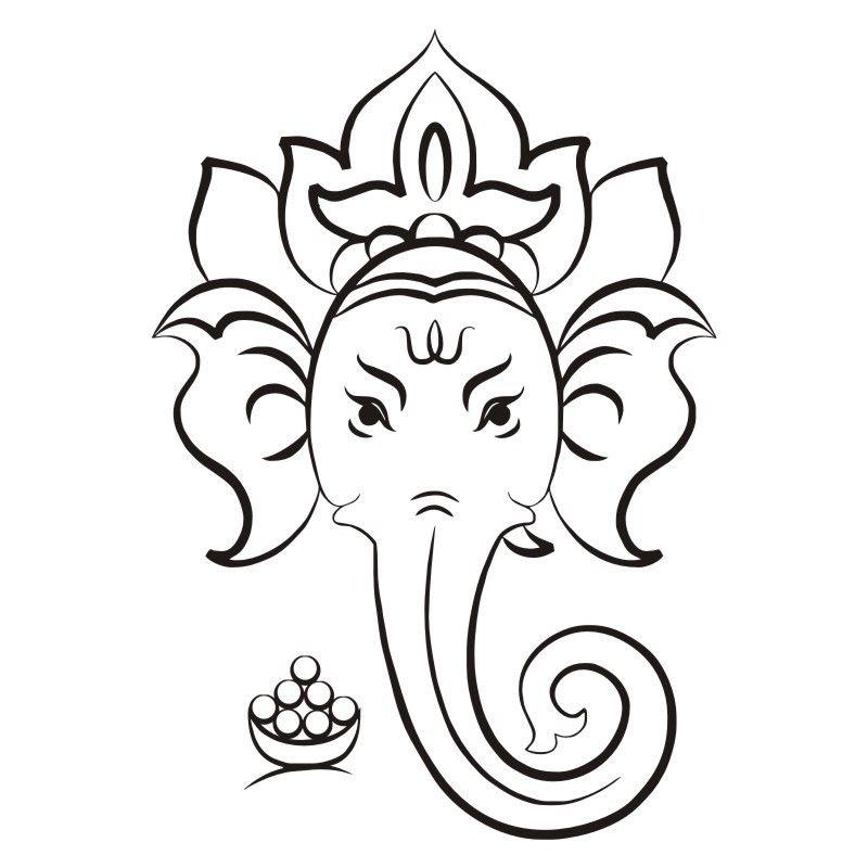800x800 Ganesha Hindu God Wall Art Stickers Head Of Elephant Religious