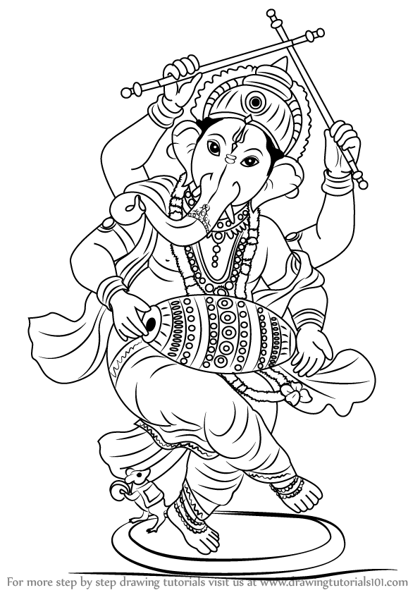 596x844 Learn How To Draw Lord Ganesha (Hinduism) Step By Step Drawing