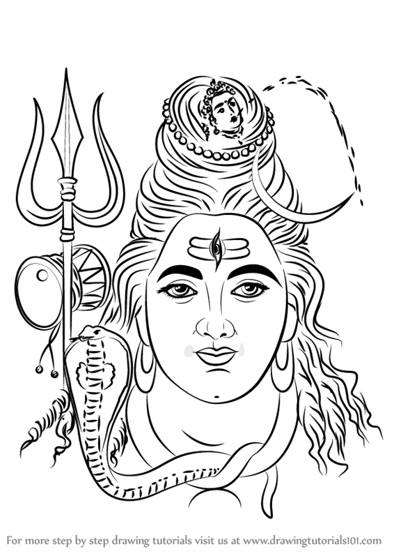 566x800 Learn How To Draw Lord Shiva Face (Hinduism) Step By Step