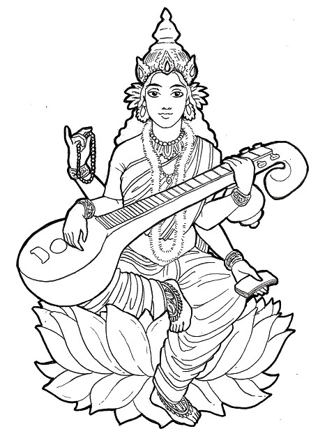 456x628 Coloriage Adulte Inde Saraswati Jouant De La Musique 11