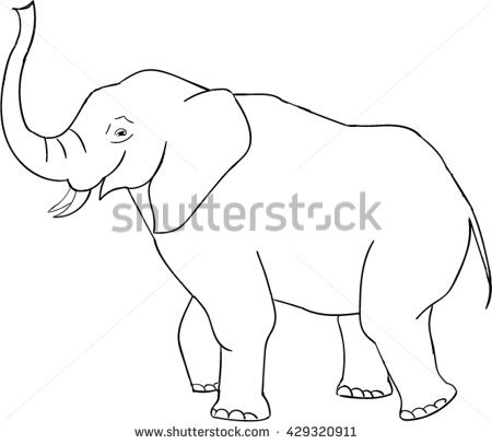 450x406 Drawn Asian Elephant Outline Drawing