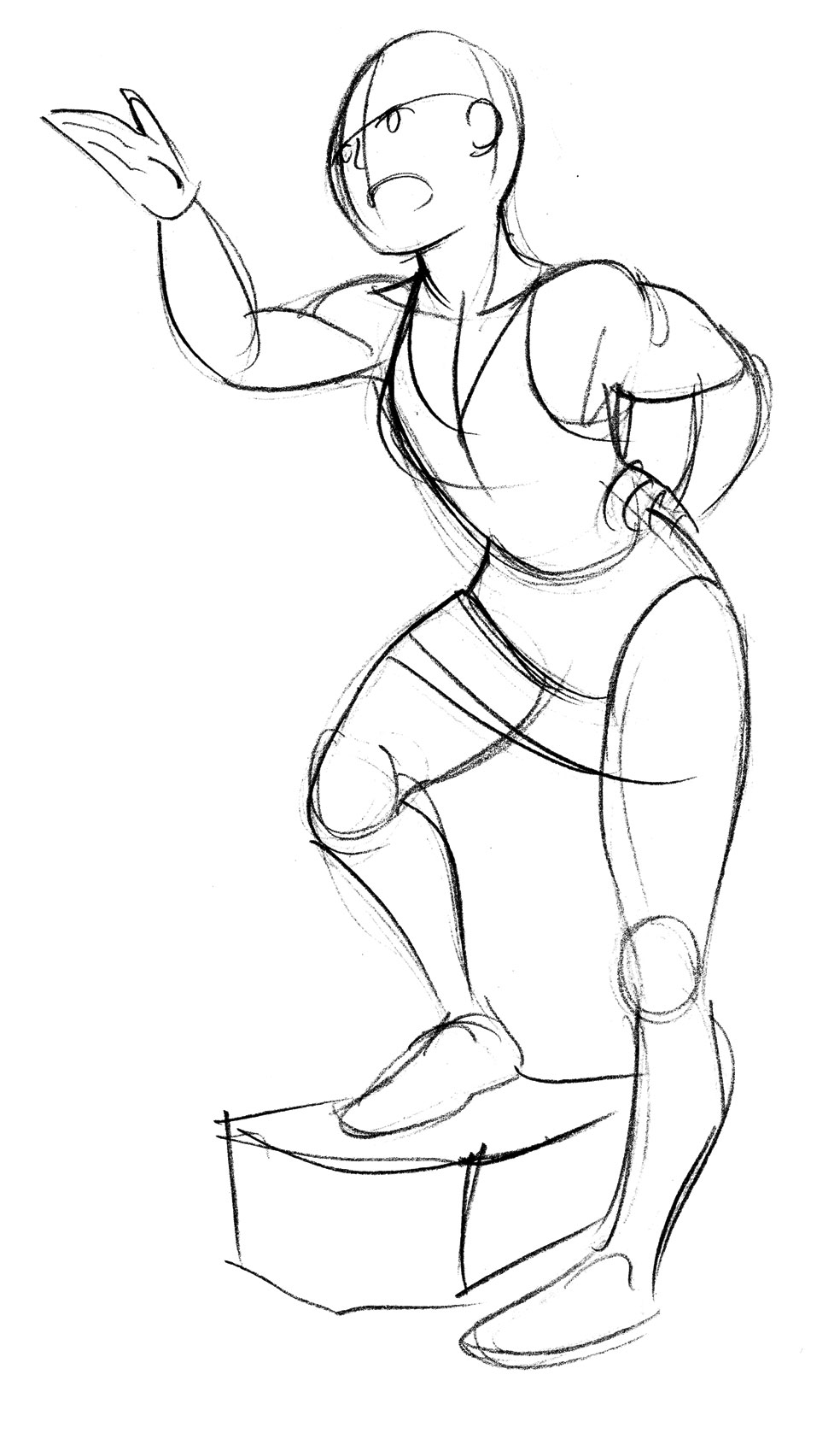 This is an image of Refreshing Hands On Hips Pose Drawing