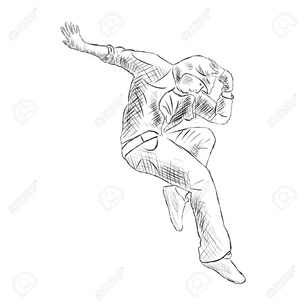 1300x1300 Hip Hop Man Dancer Vector Sketch Isolated On White Background