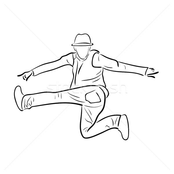 600x600 Hip Hop Man Dancer Vector Sketch On White Vector Illustration