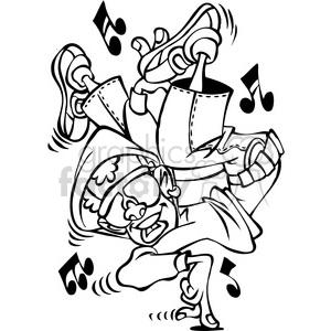 300x300 Royalty Free Black White Cartoon Hip Hop Dancer Character 387793