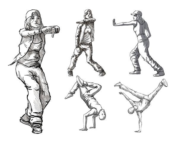 600x490 Download Dancing Figures Vector Material Characters Hip Hop Dance Free