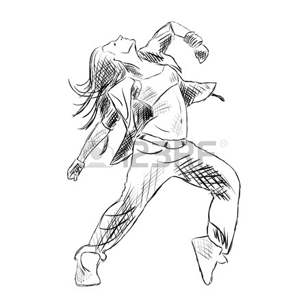 450x450 Hip Hop Woman Dancer Vector Contour Sketch Isolated On White