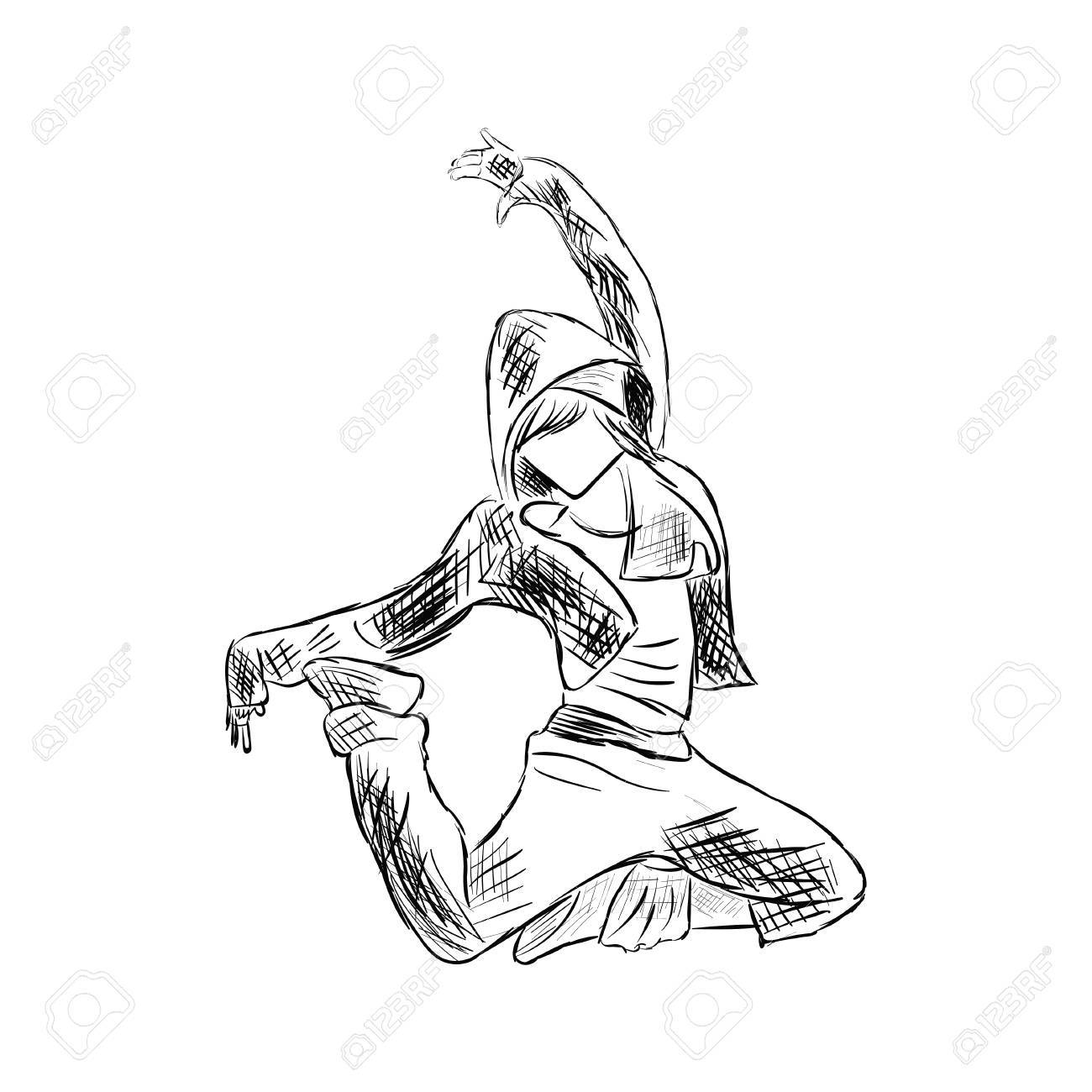 1300x1300 Hip Hop Woman Dancer Vector Sketch Isolated On White Background