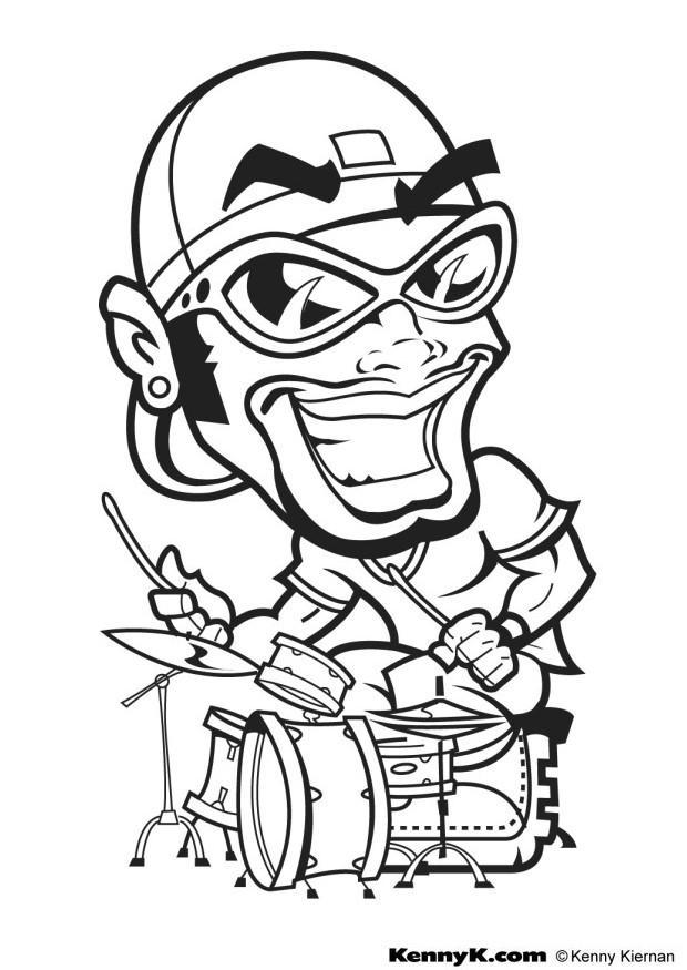 620x875 Coloring Page Hip Hop Drummer
