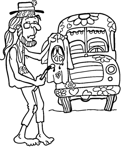 396x480 Hippie Man Coloring Page Free Printable Coloring Pages