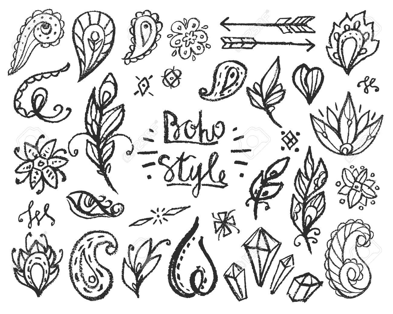 1300x1040 Set Of Ornamental Boho Style Elements. Fashion Chalked Hippie