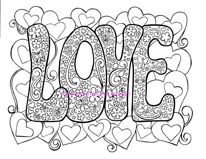 792x612 Love Adult Coloring Page Hippie Valentine39s Day