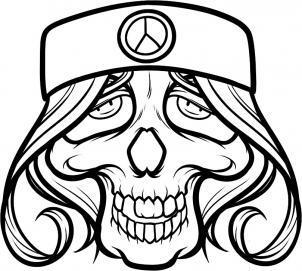 302x271 How To Draw A Hippie Skull, Hippie Tattoo Step 9 Art3