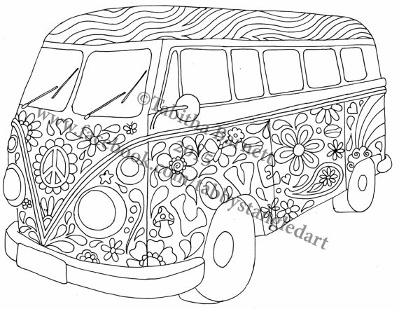 Hippie Van Drawing at GetDrawings.com | Free for personal use Hippie ...