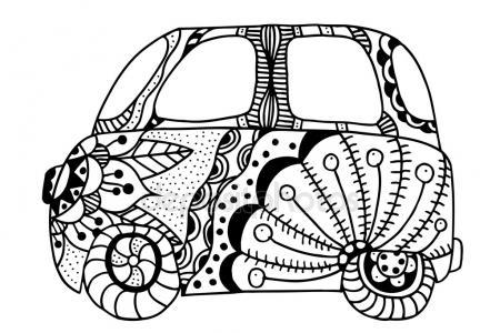 450x300 Hippie Vintage Car A Mini Van In Zentangle Style. Colorful Hippie
