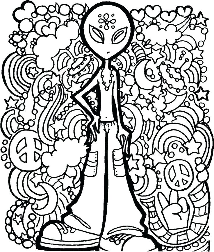 736x867 Hippy Coloring Pages Hippie Kitsch Printable Adult Book: Hippie Color Sheets At Alzheimers-prions.com